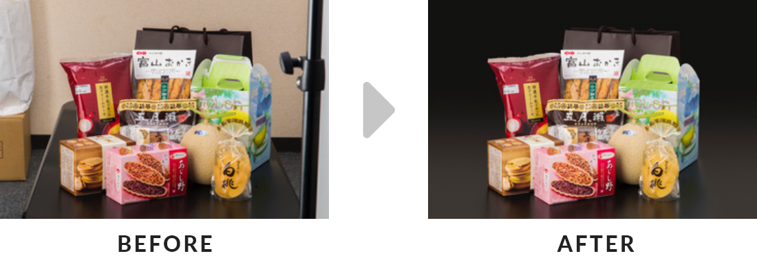画像処理のビフォーアフター比較画像